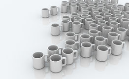 Many Coffee Mugs. Many small 3d coffee mugs Stock Images