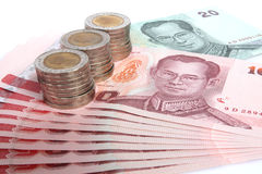 Many coin and bank  in Thai. Stock Photos
