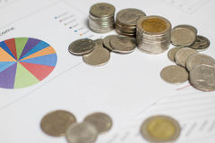 Many coin and graph, Stock Photography