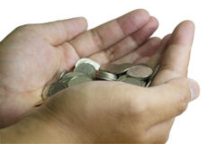 Many coin on hand Royalty Free Stock Image