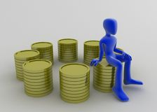 Many Coin Stacks. A blue 3d figure sitting on one golden coin stack of 8 royalty free illustration