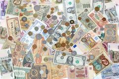 Many coins , banknotes of different countries and times. Money. Royalty Free Stock Images
