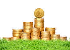 Many coins in column on green grass isolated on white Stock Photos