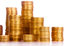 Many coins in column isolated Stock Photo