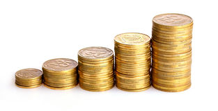 Many coins in column isolated Royalty Free Stock Image