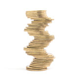 Many coins in column on white background Stock Photos