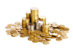 Many coins in columns isolated. Ukrainian coins Stock Image