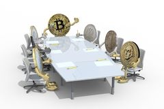 Many coins different currency around the table Stock Images