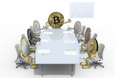 Many coins different currency around the table. Many coins different currency, around the table and follow their boss, 3d illustration Royalty Free Stock Photos