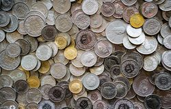 Many coins in different Swiss franc denominations royalty free stock photography