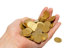 Many coins in a hand. Stock Photo