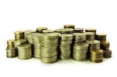 Many coins rouleaus stock photo