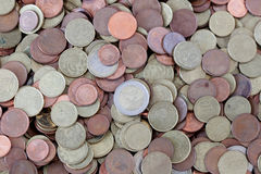 Many coins scattered euro Royalty Free Stock Image