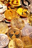 Coins of various cryptocurrencies Royalty Free Stock Photography