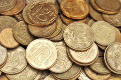 Many Coins On Wood Table Stock Image