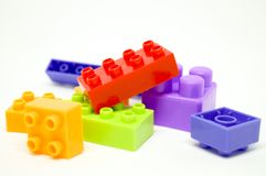 Colorful box lego for child. Many color box and shape lego so interesting for Child Royalty Free Stock Photography