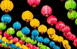 Many color chinese lanterns during new year festival Royalty Free Stock Photos