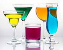 Many color cocktails Stock Images
