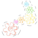 Many color Cogwheel chain spinning Royalty Free Stock Photography