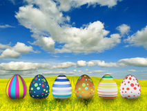 Many color easter eggs Stock Photos