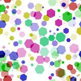 Many color hexagon bokeh on white background Stock Images