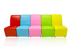Many color of leather sofa Stock Photos