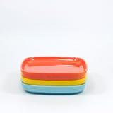 Many color melamine saucer, kitchenware Royalty Free Stock Image