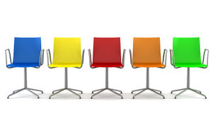 Many color office chairs isolated on white Stock Photos