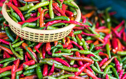Many color of paprika in the basket. Royalty Free Stock Image