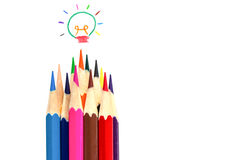 Many color pencil drawing colorful light bulb, idea and Stock Photos