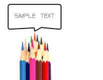 Many color pencil and text box on white Stock Photos