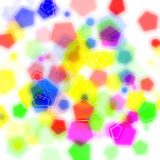Many color pentagon bokeh on white background. Design of abstract colorful pentagon bokeh on white background royalty free stock photography