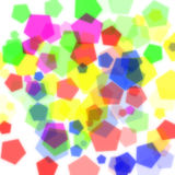 Many color pentagon bokeh on white background. Design of abstract colorful pentagon bokeh on white background stock image