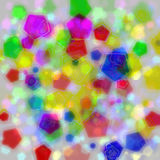 Many color pentagon bokeh on white background. Design of abstract shiny colorful pentagon bokeh on white background royalty free stock photography