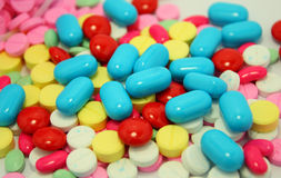 Many color pills Stock Photography