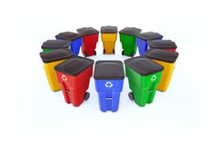 Many color plastic garbage bins with recycling logo. Isolated on white background, staked on circle royalty free illustration