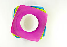 Many color plates and cup Royalty Free Stock Photo