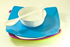 Many color plates and spoon Stock Image
