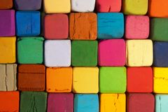 Square pastels filled with screens. Many color of square shaped pastels are piled up and filled with screen royalty free stock image