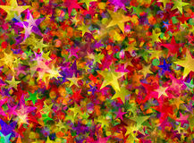 Many color stars and rounds bokeh backgrounds Stock Images