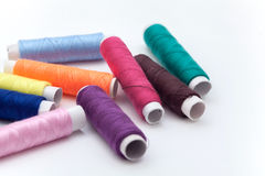 Many color thread, String, Cord, Hank, Strand on the white Stock Images