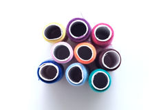 Many color thread, String, Cord, Hank, Strand on the white Royalty Free Stock Photo