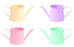 Many color watering can isolated on white background. Royalty Free Stock Photography