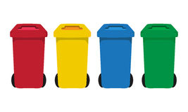 Many color wheelie bins set. Illustration of waste management concept Stock Photos