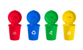 Many color wheelie bins set Royalty Free Stock Images