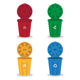 Many color wheelie bins set Stock Images