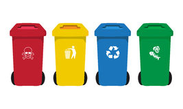 Many color wheelie bins set with waste icon. Illustration of waste management concept Royalty Free Stock Photos