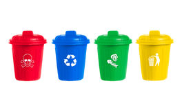 Many color wheelie bins set with waste icon Stock Images
