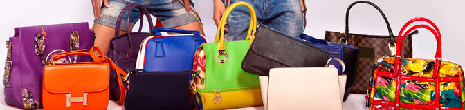 Many color women bags on white Stock Image