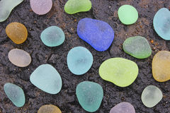 Sea Glass of Many Colors. Many colored authentic antique pieces of sea glass stock photo